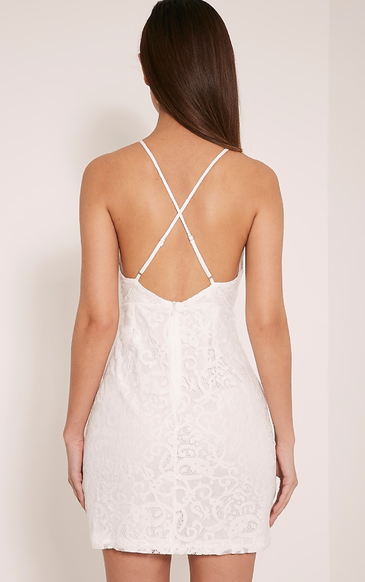 Elora White Cross Back Lace Mini Dress 2
