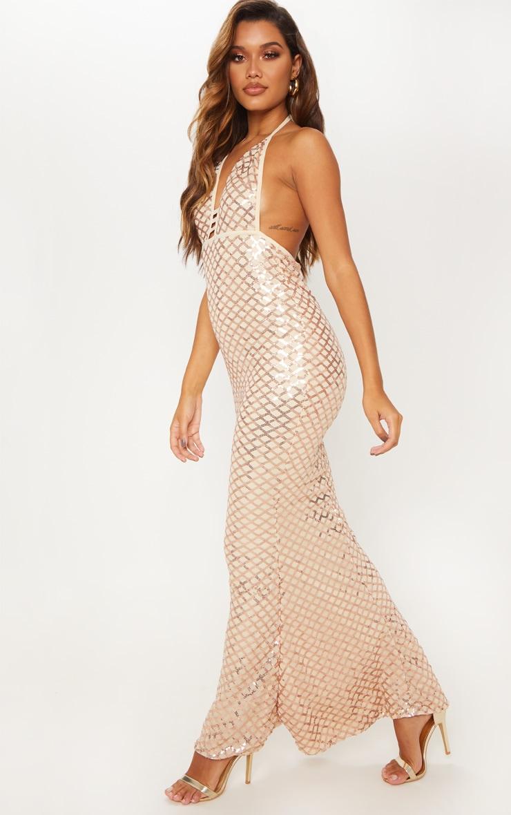 Rose Gold Diamond Sequin Halterneck Fishtail Maxi Dress 1