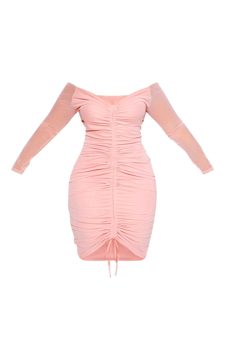 Plus Dusty Rose Mesh Ruched Bardot Midi Dress 3