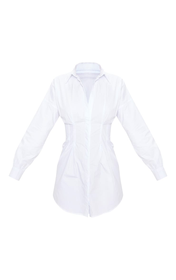 White Fitted Waist Long Sleeve Shirt Dress 4