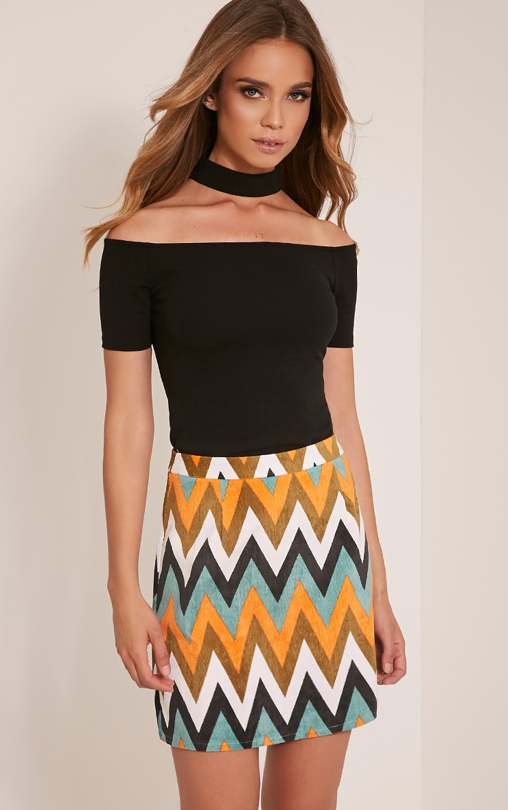 Annetta Turquoise Chevron Cord Mini Skirt 1