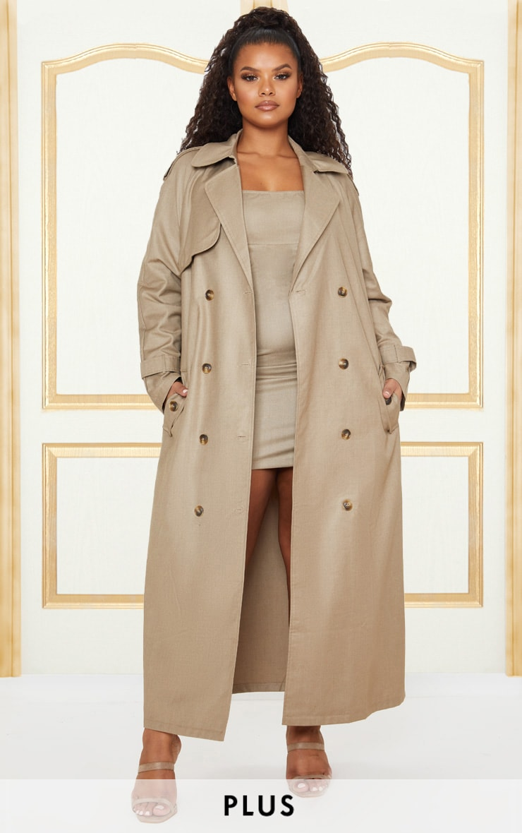 Plus Stone Woven Oversized Trench Coat 1