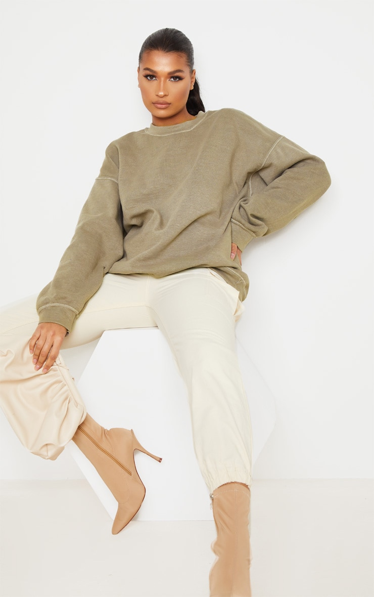 Taupe Oversized Washed Sweater 4