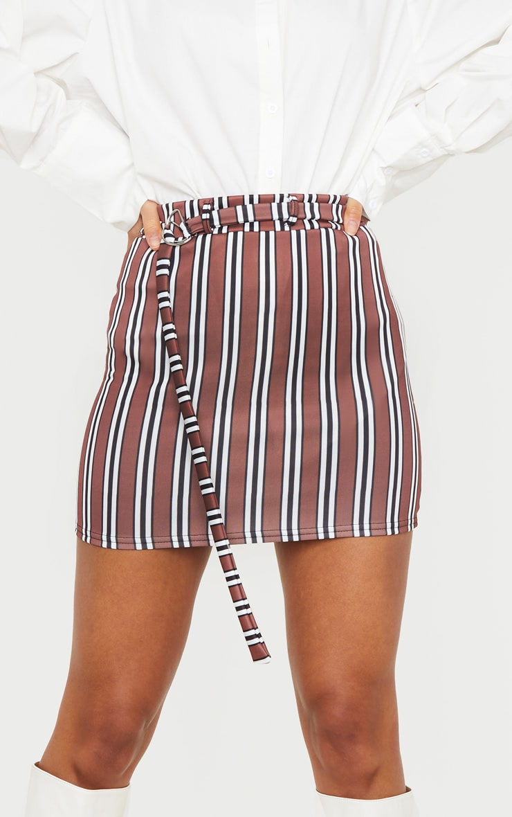 Chocolate Stripe Belted Mini Skirt 5