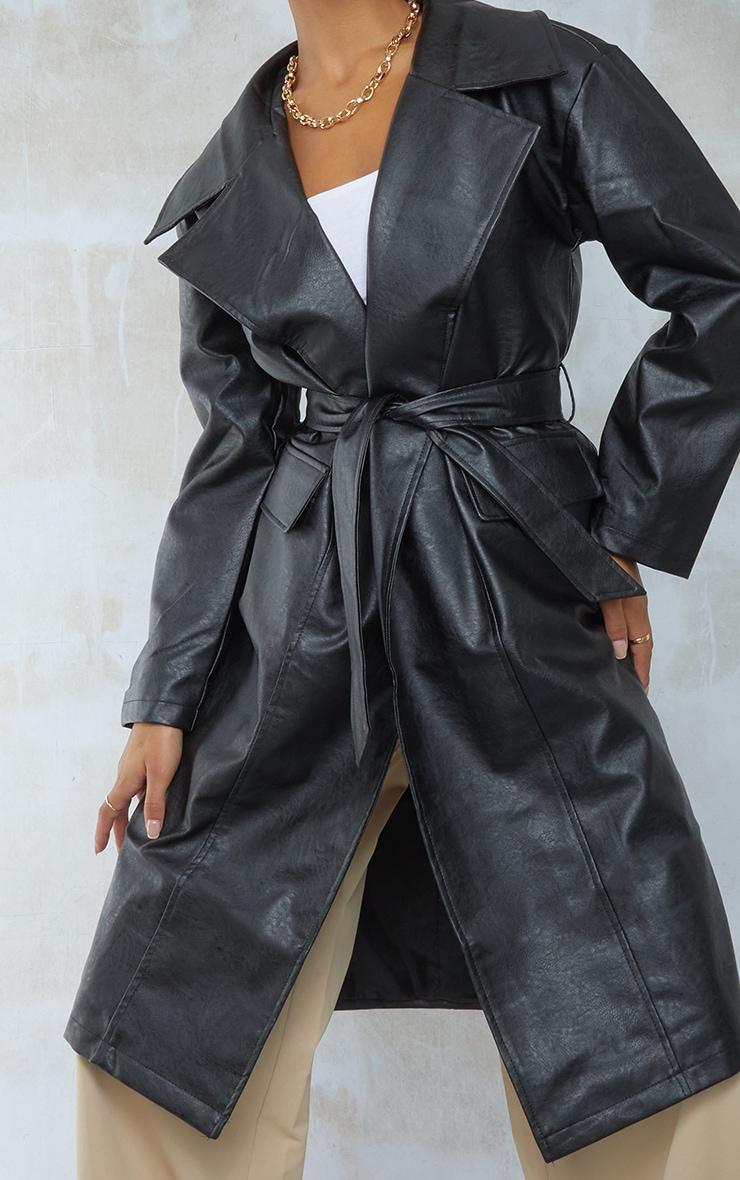 Black Faux Leather Oversized Midi Trench Coat 4