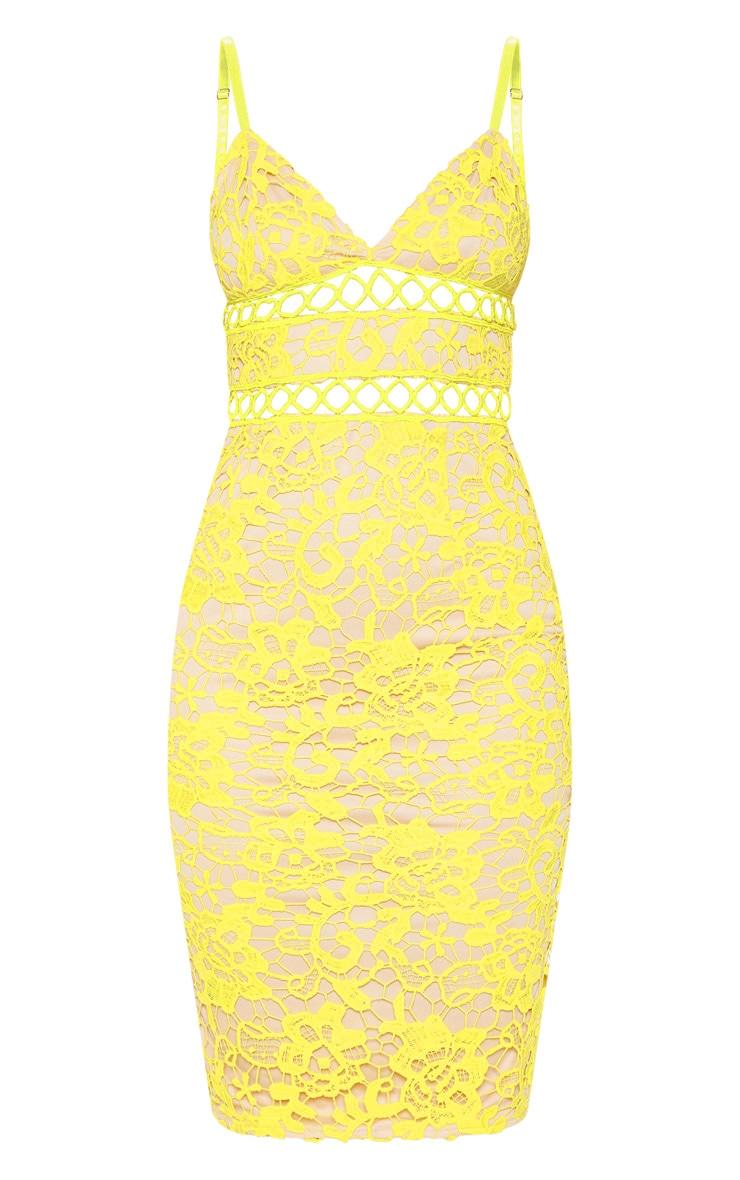 Yellow Lace Cami Midi Dress  3