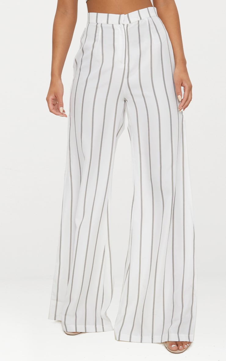 White Striped Wide Leg Trousers 2