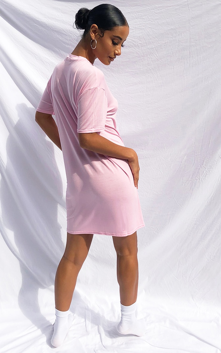 Pink Basic Fitted T Shirt Dress 2