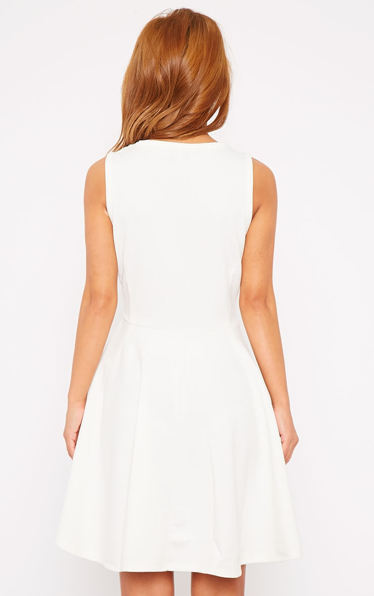 Bridgette White Mesh Panel Skater Dress 2