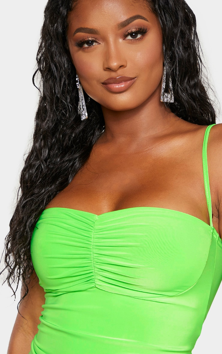 Shape Neon Lime Ruched Detail Strappy Bodycon Dress 5