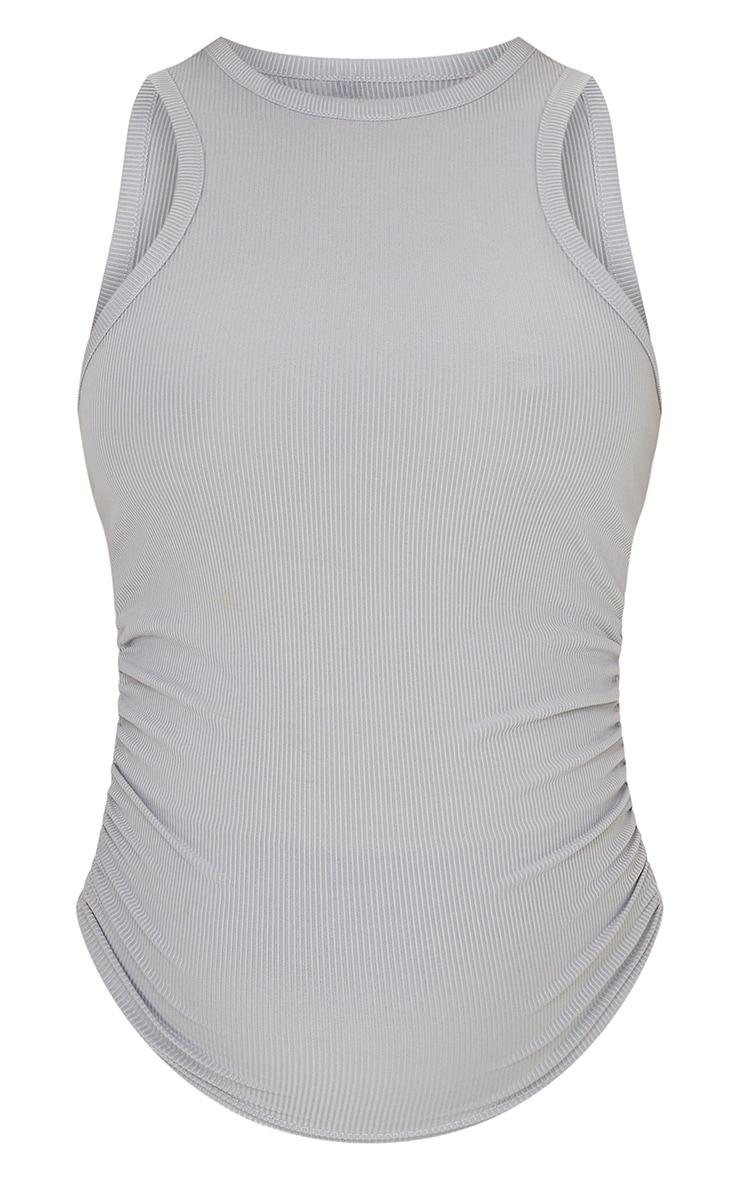Maternity Grey Rib Racer Neck Vest 5