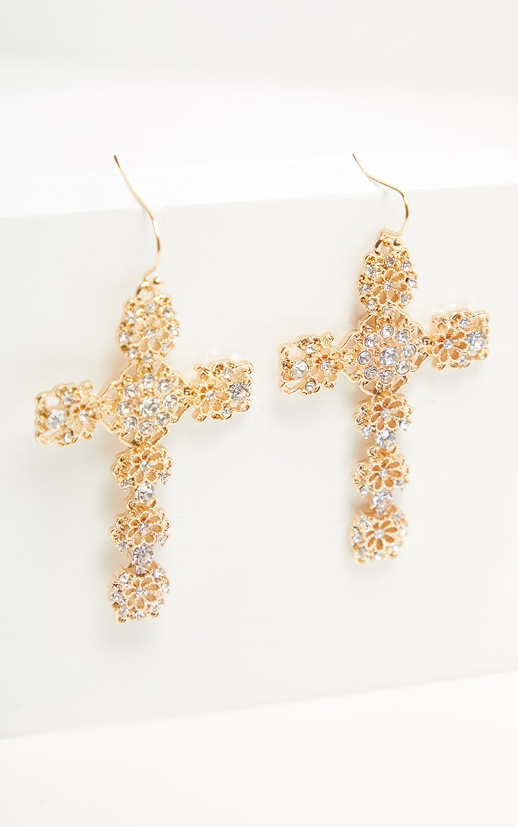 Gold Diamante Ornate Cross Earrings 2