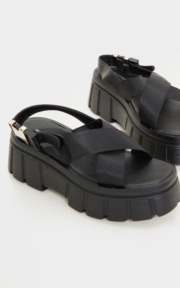 Black Extreme Chunky Sole Nylon Strap  Sandals 3