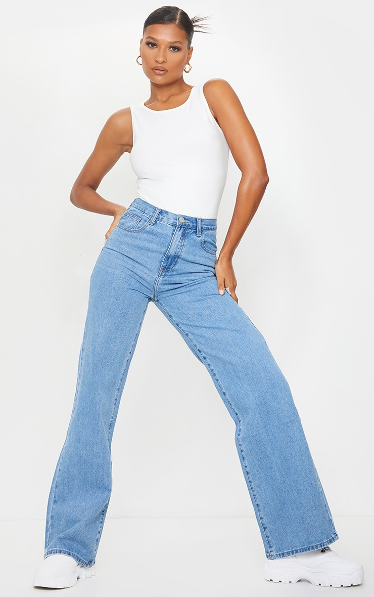 Light Wash Extra Long Wide Leg Jeans 1