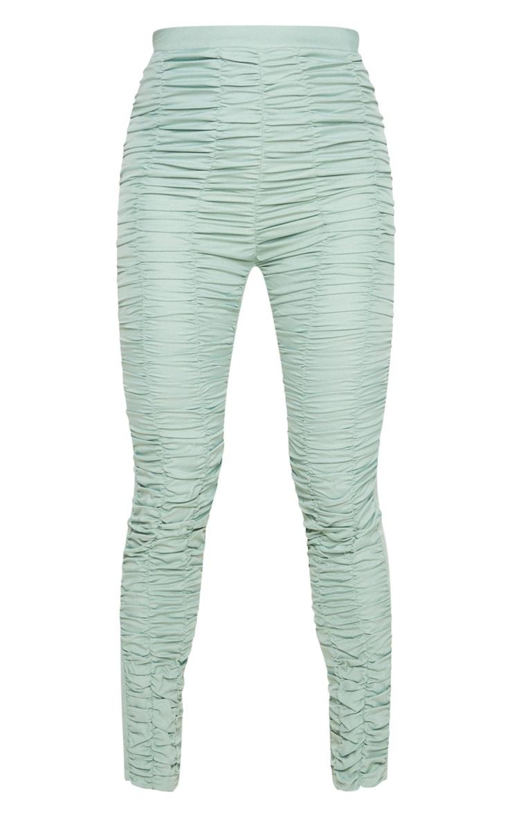 Sage Khaki Woven High Waist Ruffle Seam Front Skinny Trouser 6