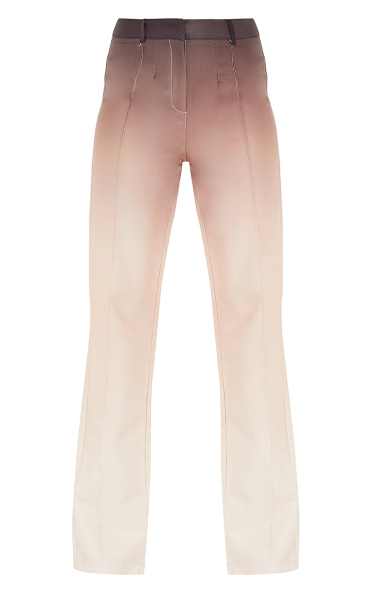 Taupe Ombre Woven Straight Leg Tailored Pants 5