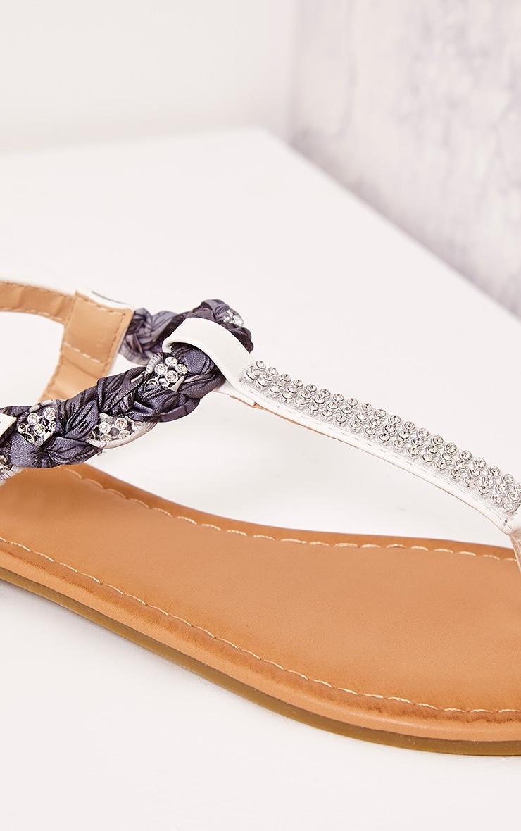 Kelina White Plaited Strap Embellished Sandals 5
