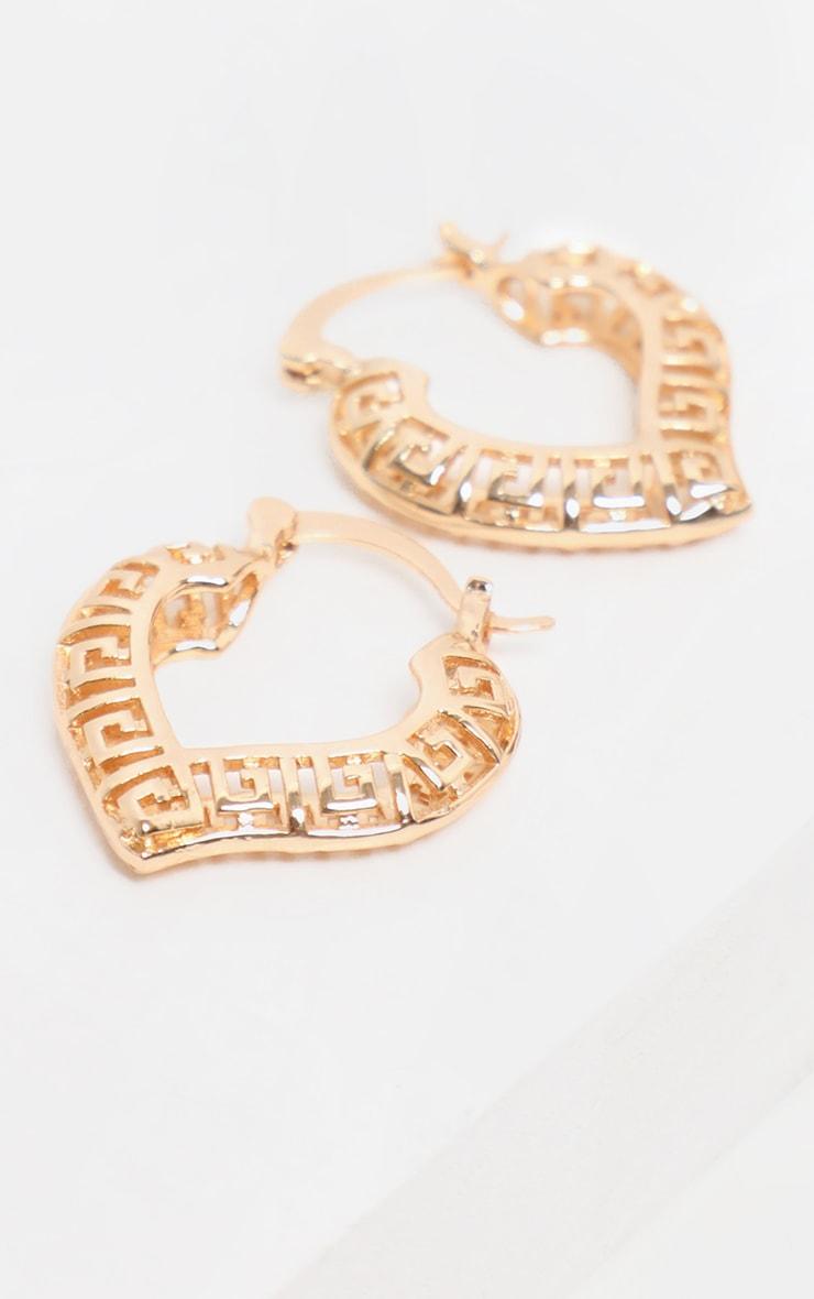 Gold Mini Greek Key Cut Out Heart Hoop Earrings              3