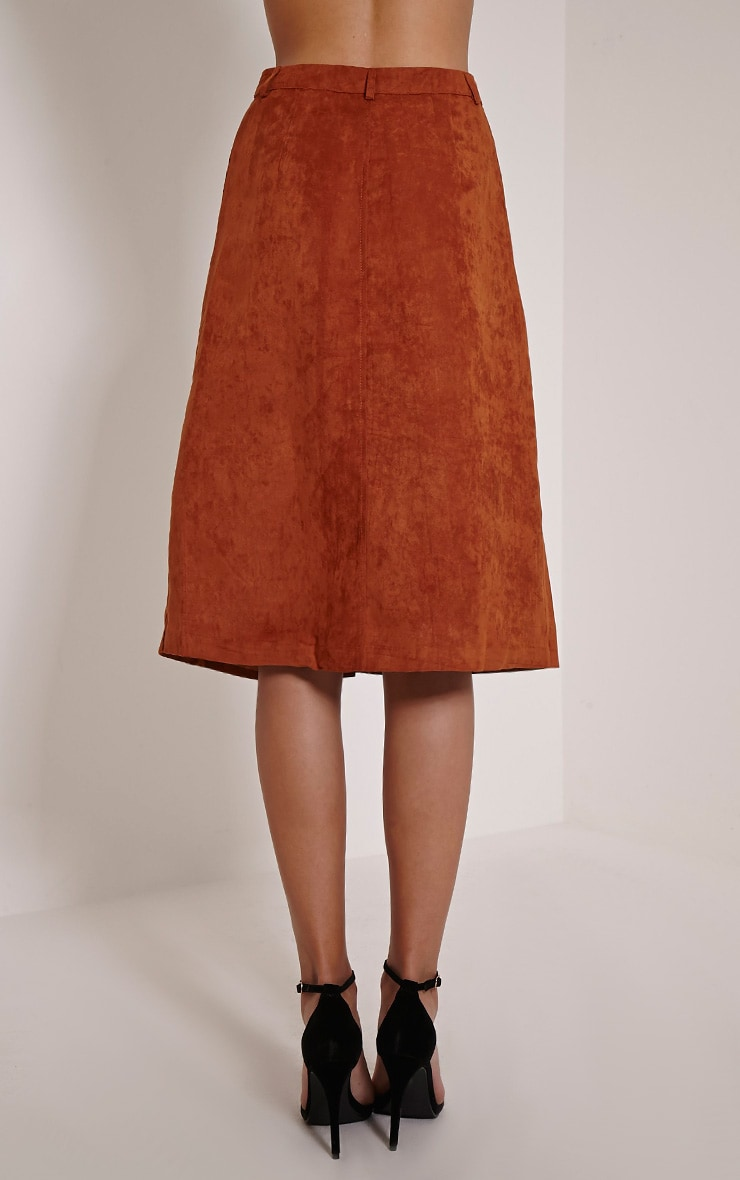 Zahara Rust Faux Suede Button Down Midi Skirt 3