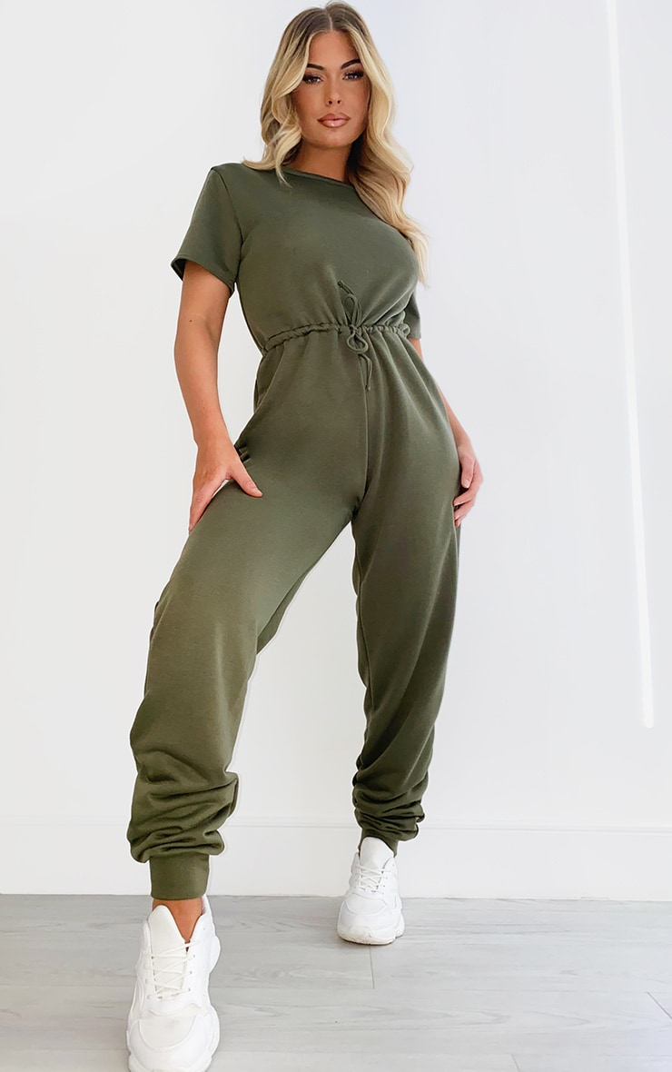 Khaki Sweat Short Sleeve Jogger Jumpsuit 3