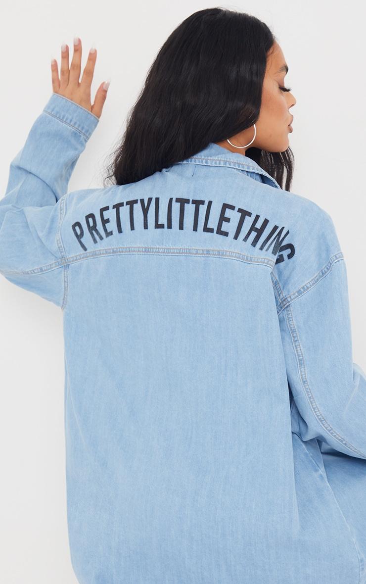 PRETTYLITTLETHING Light Blue Wash Printed Lightweight Denim Shirt 4