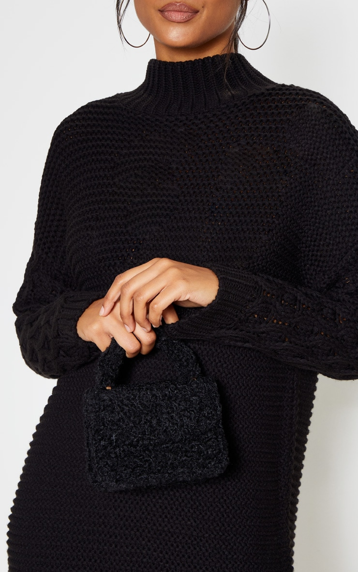 Robe Pull Noire A Manches En Maille Et Col Roule Prettylittlething Fr