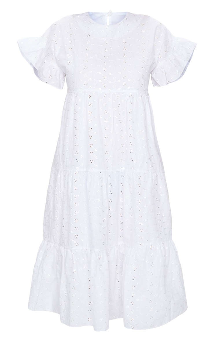 White Broderie Anglaise Tiered Smock Midi Dress 5