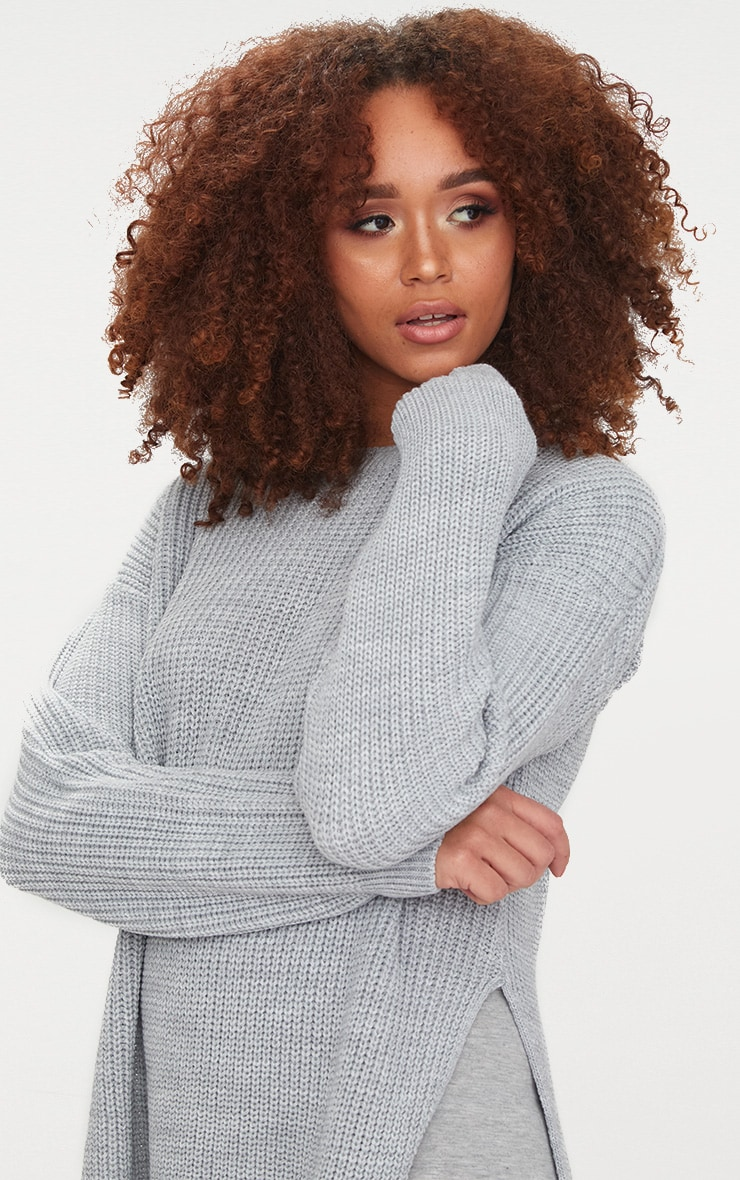 Grey Round Neck Side Split Jumper 4