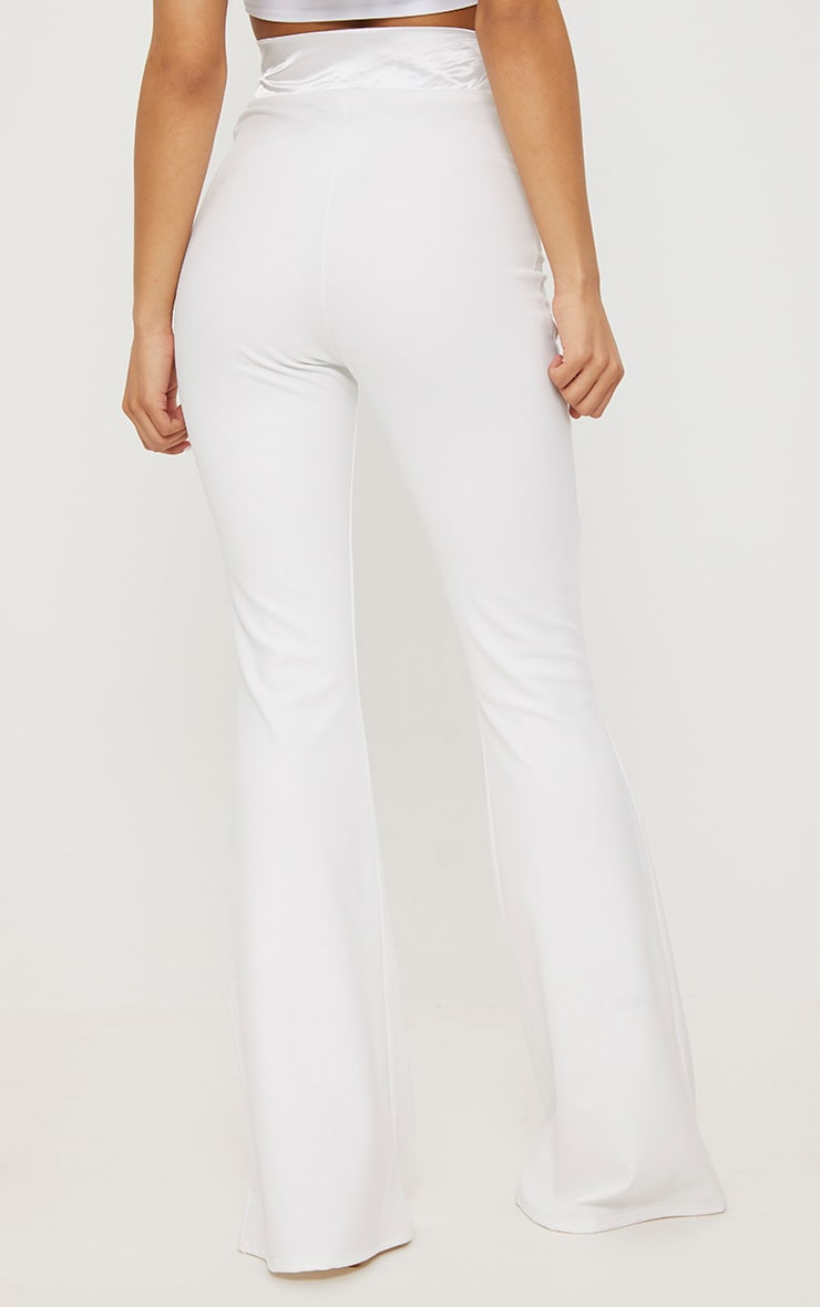 Cream Satin Waistband Detail Flare Trouser 4