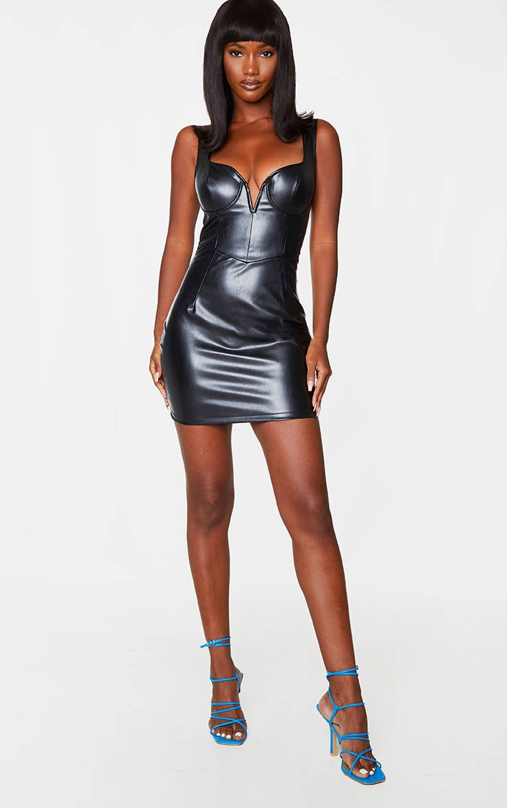 Black PU Underwired V Plunge Sleeveless Bodycon Dress 3