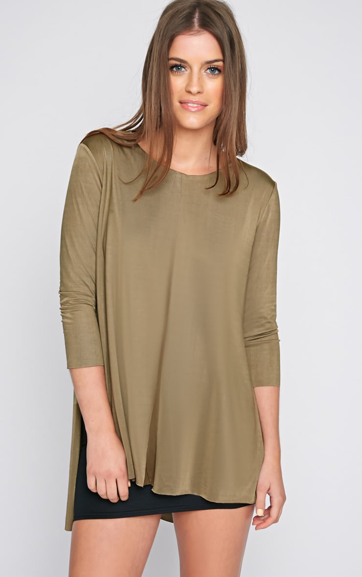 Chantal Khaki Satin Split Layered Top  1