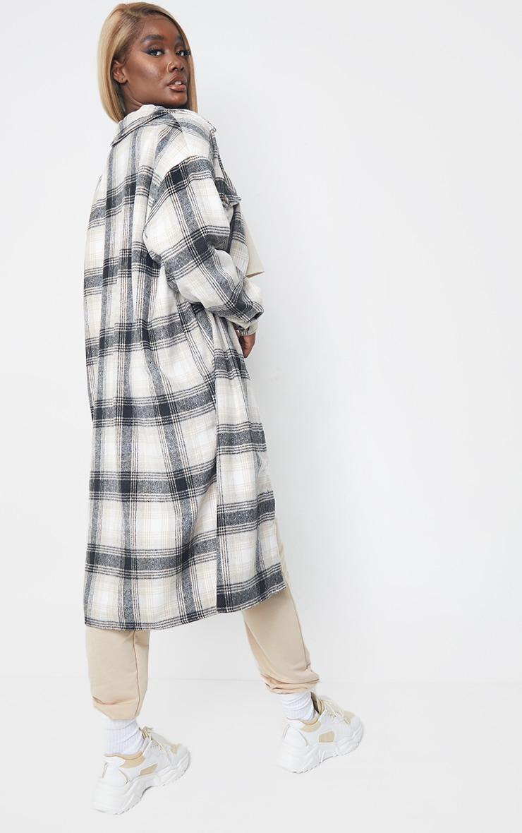Tall Grey Oversized Longline Checked Shacket 2