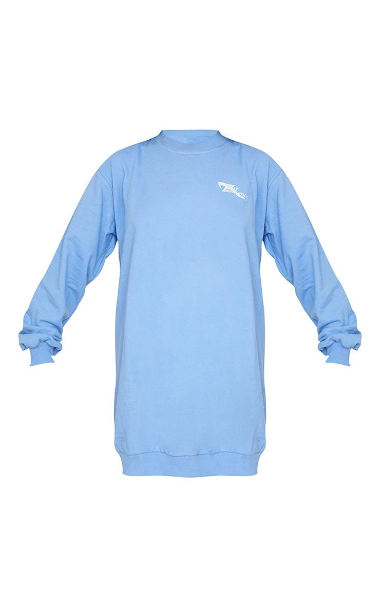 PRETTYLITTLETHING Cornflower Blue Oversized Crew Neck Sweat Jumper Dress 5
