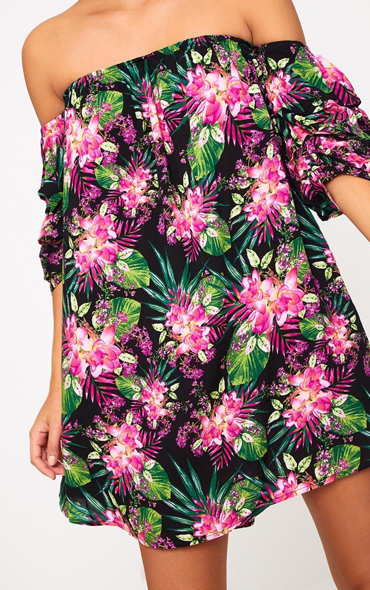 Black Floral Ruched Bardot Sleeve Shift Dress 5