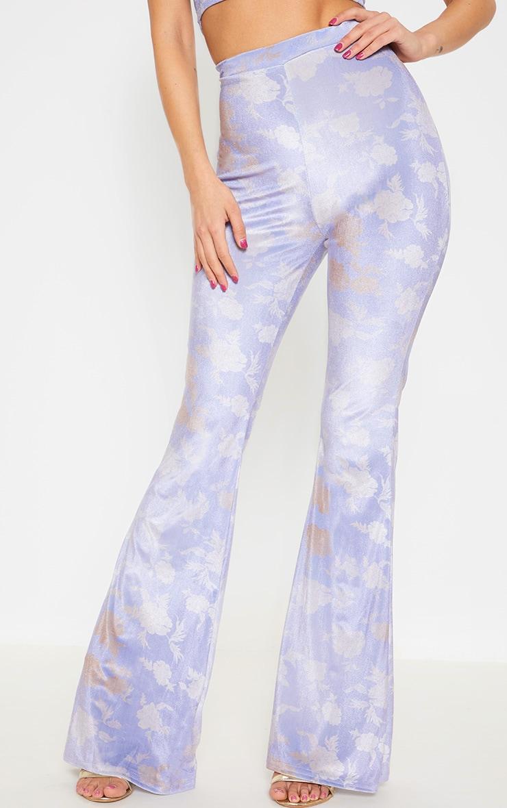 Lilac Floral Velvet Flared Pants 2