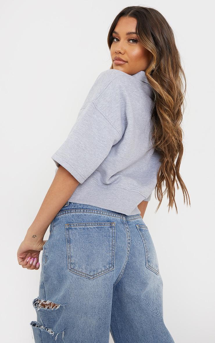 Grey Button Front Short Sleeve Crop Polo Shirt 2