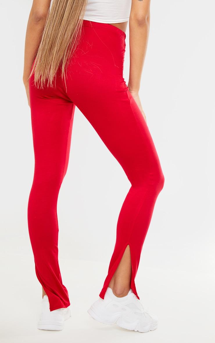 Red Basic Jersey Split Hem Legging 3
