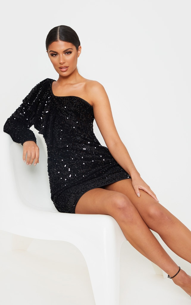 Black Sequin One Shoulder Ruffle Detail Bodycon Dress 4