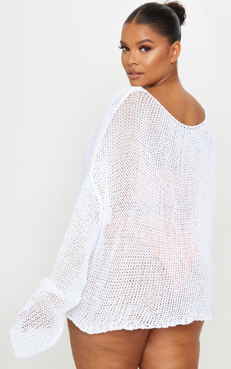 Plus White Fisherman Knit Sweater 2