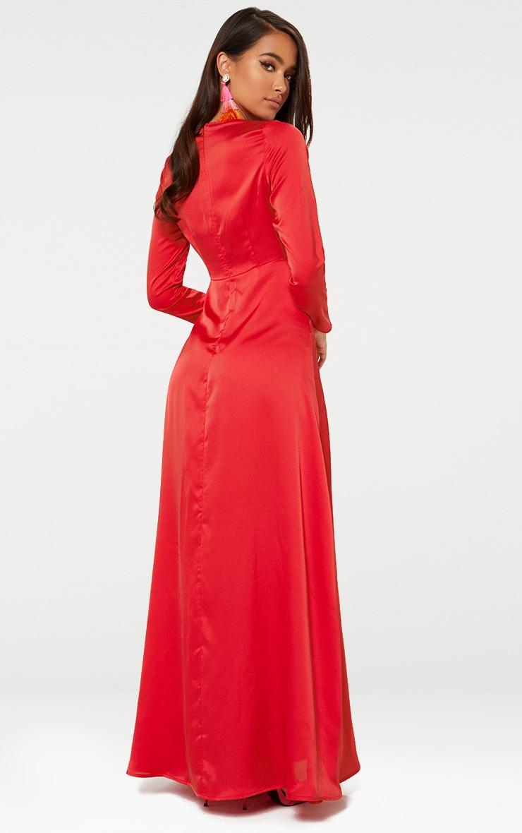 Red Satin Twist Front Maxi Dress  2