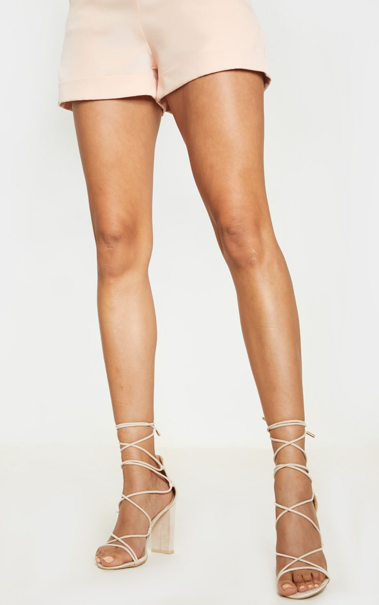 Nude Block Heel Ghillie Tie Up Sandal 2