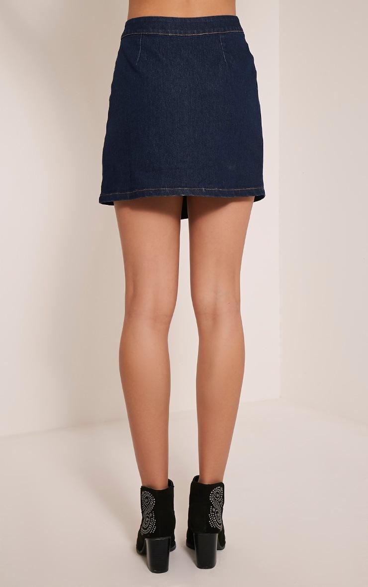 Ishani Dark Wash Button Down Denim Mini Skirt 5