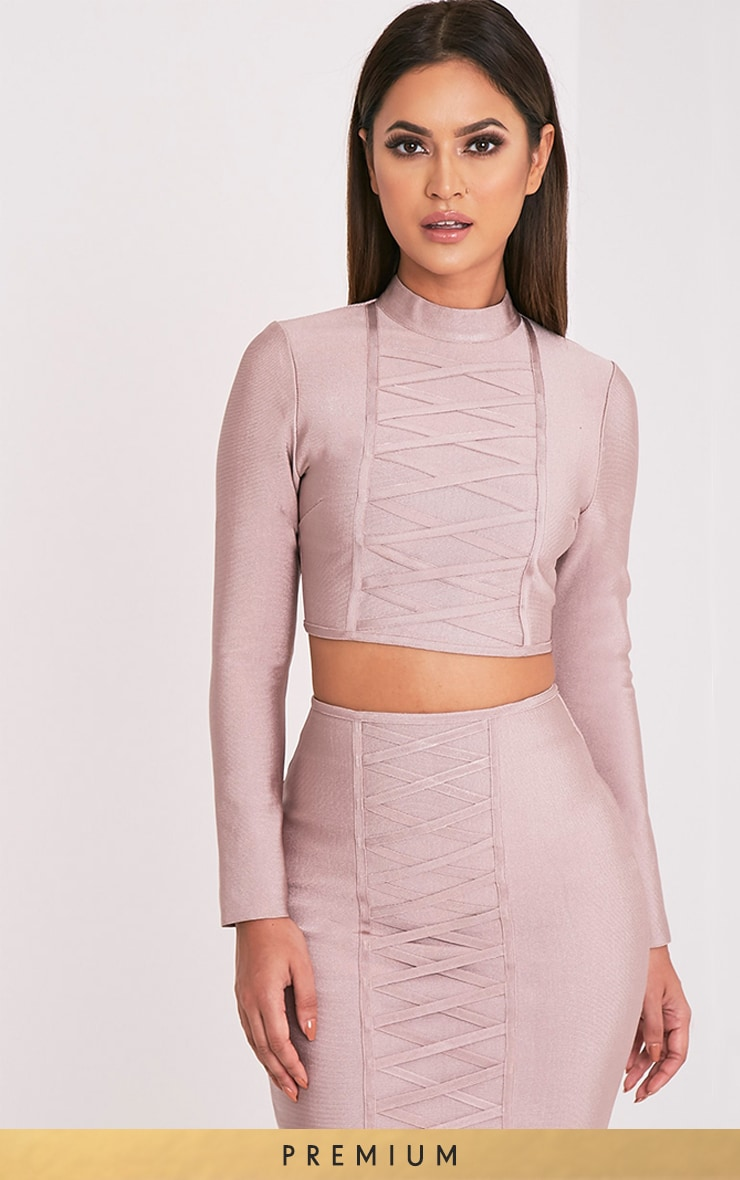 Kailyn Mink Premium Bandage Long Sleeve Crop Top 1