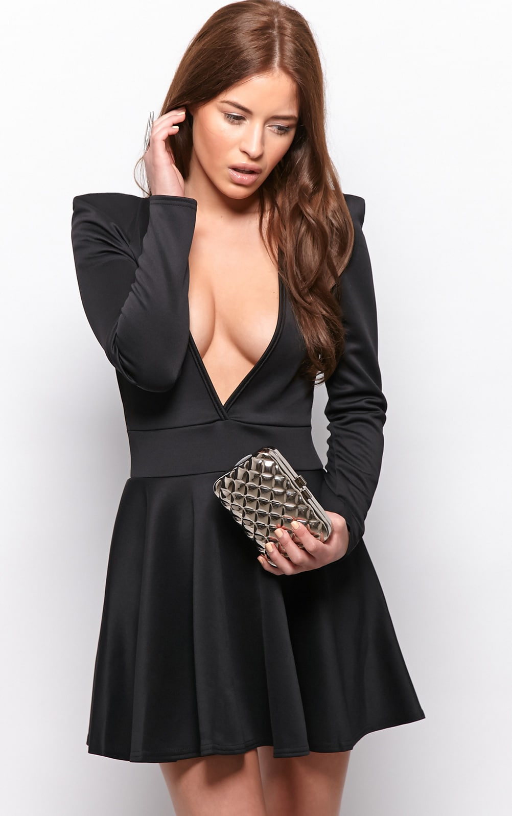 Morgan Black Plunge Skater Dress 1