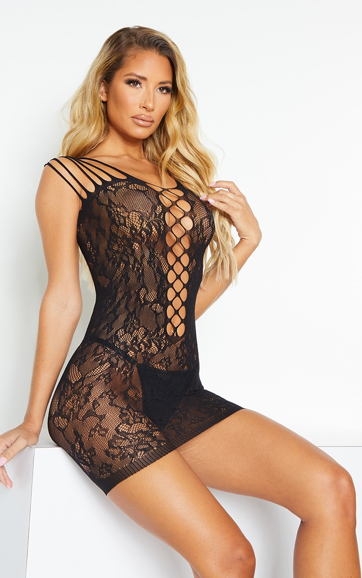 Black Strappy All Over Lace Body Stocking 1