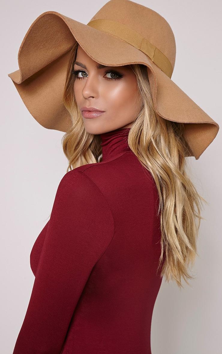Lyrah Camel Oversized Fedora Hat 1