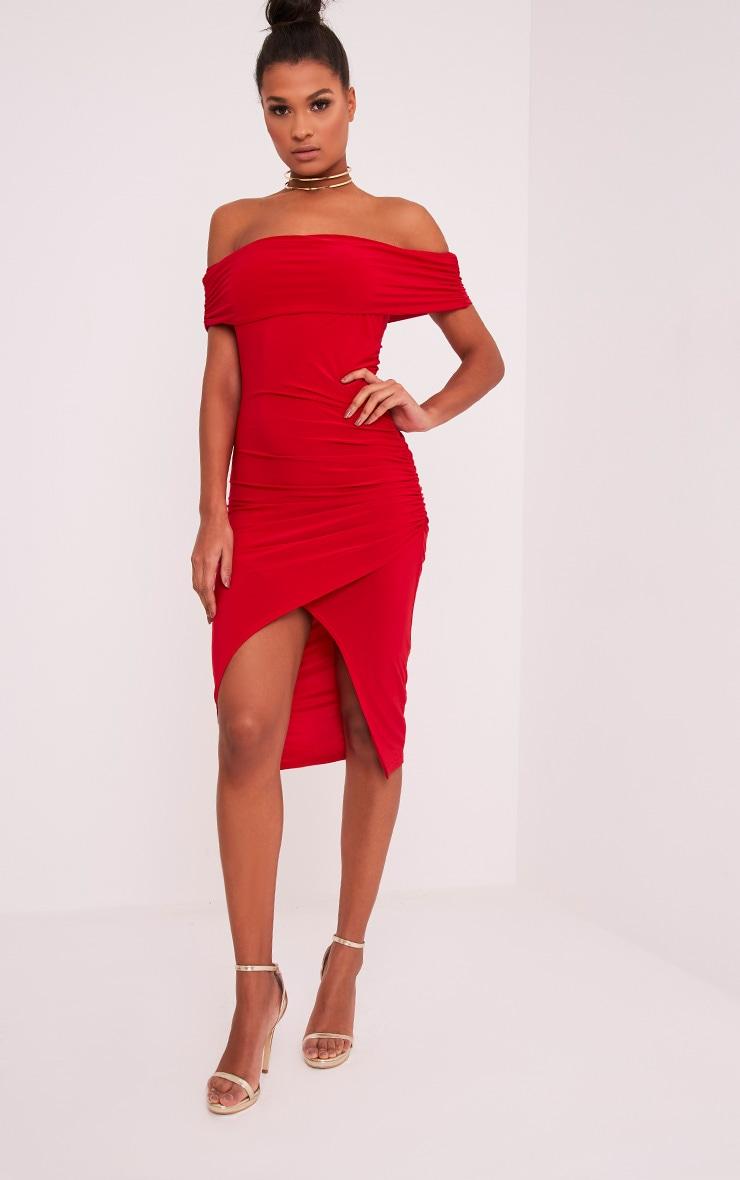 Briany Red Slinky Bardot Midi Dress 5