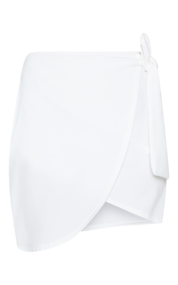 White Wrap Tie Waist Mini Skirt 4
