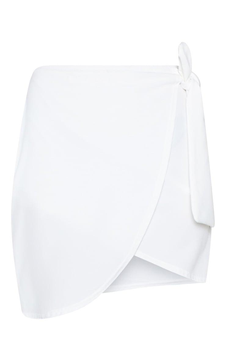 White Wrap Tie Waist Mini Skirt 5