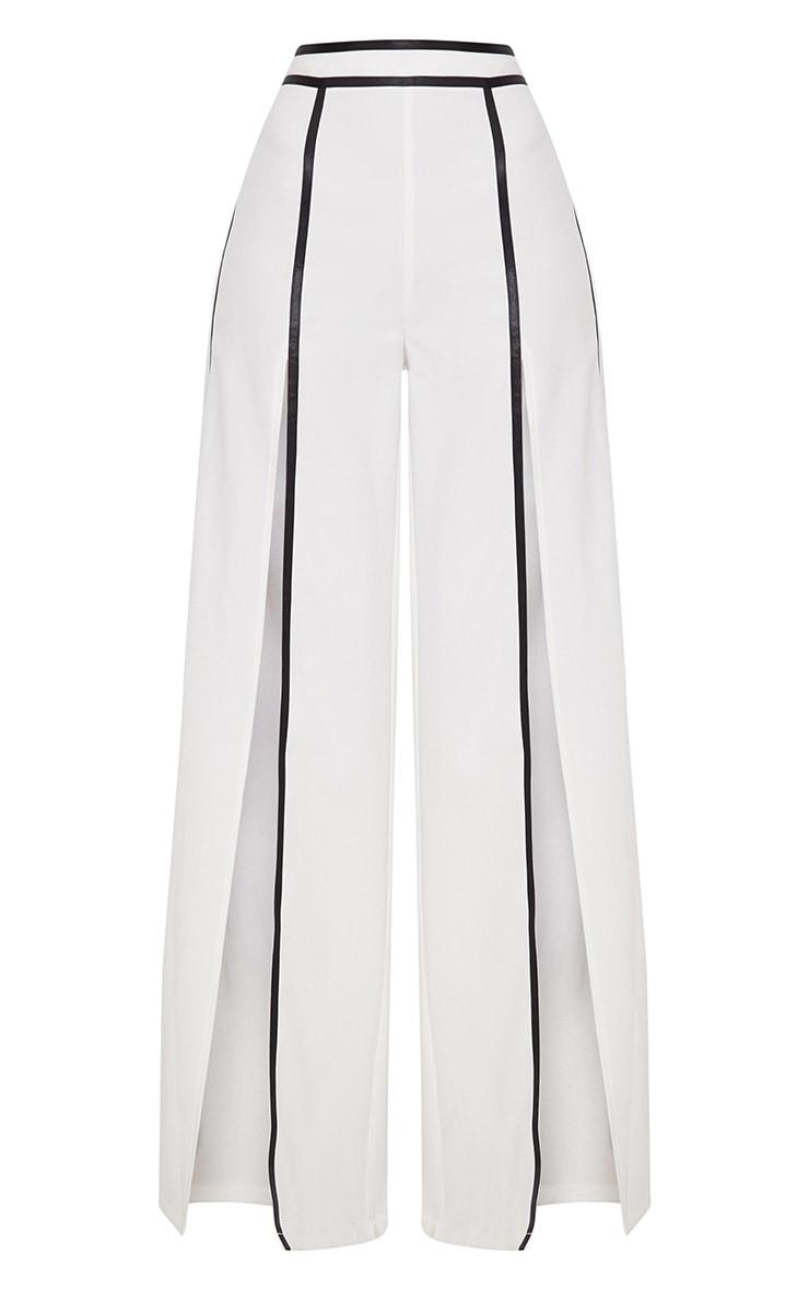 White Contrast Binding Split Front Wide Leg Trouser 3